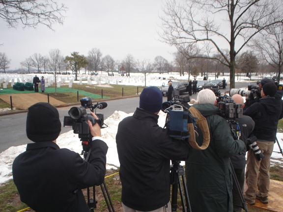 National media covering the burial of Charlie Wilson