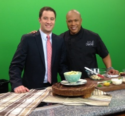 Lane and Chef Jeff after a live cooking segment on Good Morning East Texas.