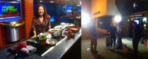 I was on the set setting up the food, and Grant was outside frying the turkey with the fire chief!